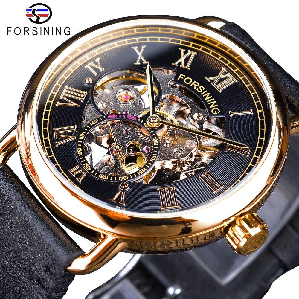 Forsining Klassische Schwarz Goldene Durchbrochene Uhren Skeleton Herren Mechanische Armbanduhren Top Marke Luxus Schwarz Echtes Leder