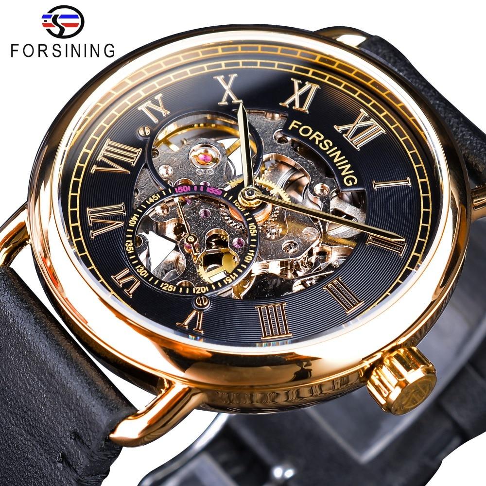 Forsining clásico Oro Negro calado relojes esqueleto Mens relojes mecánicos superior de la marca de lujo de cuero genuino negro
