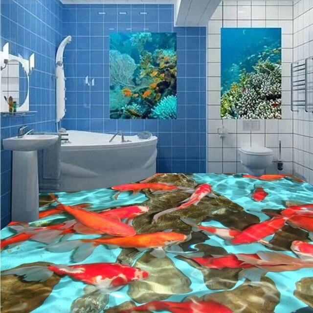 Gratis Verzending Meidoorn rode karper 3D vloeren behang slaapkamer ...