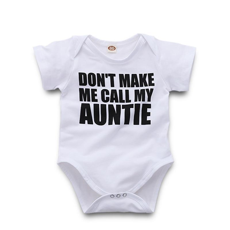 Sommar Nyfött Bodysuit Gör mig inte Ring Min Tantie Brev Skriv ut - Babykläder - Foto 1