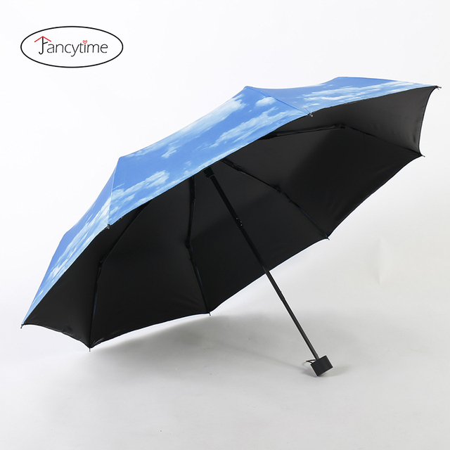Fancytime Summer 3d Mini Folding Umbrella Sun Protection Parasol Sky
