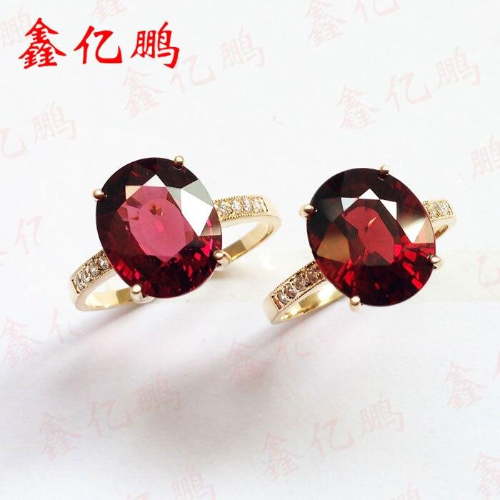 18 k gold inlaid natural garnet ring women quit 5 carats ...