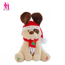 Vanmajor Christmas Peek A Boo Dog Stuffed Animals & Plush Dog Doll, Play Music Dog Educational Anti-stress Electric Toy For Baby