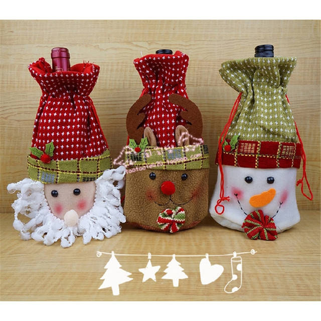 Aliexpress Com Buy Christmas Candy Gift Bags Wine Bottle Covers