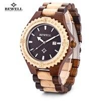 BEWELL Hot Sell Men Wood Watch Waterproof Quartz Watches Wooden Band Calendar Luxury Male Dress Watch relogio masculino