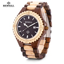BEWELL Hot Sell Men Wood Watch Waterproof Quartz Watches Wooden Band Calendar Luxury Male Dress Watch relogio masculino(China)