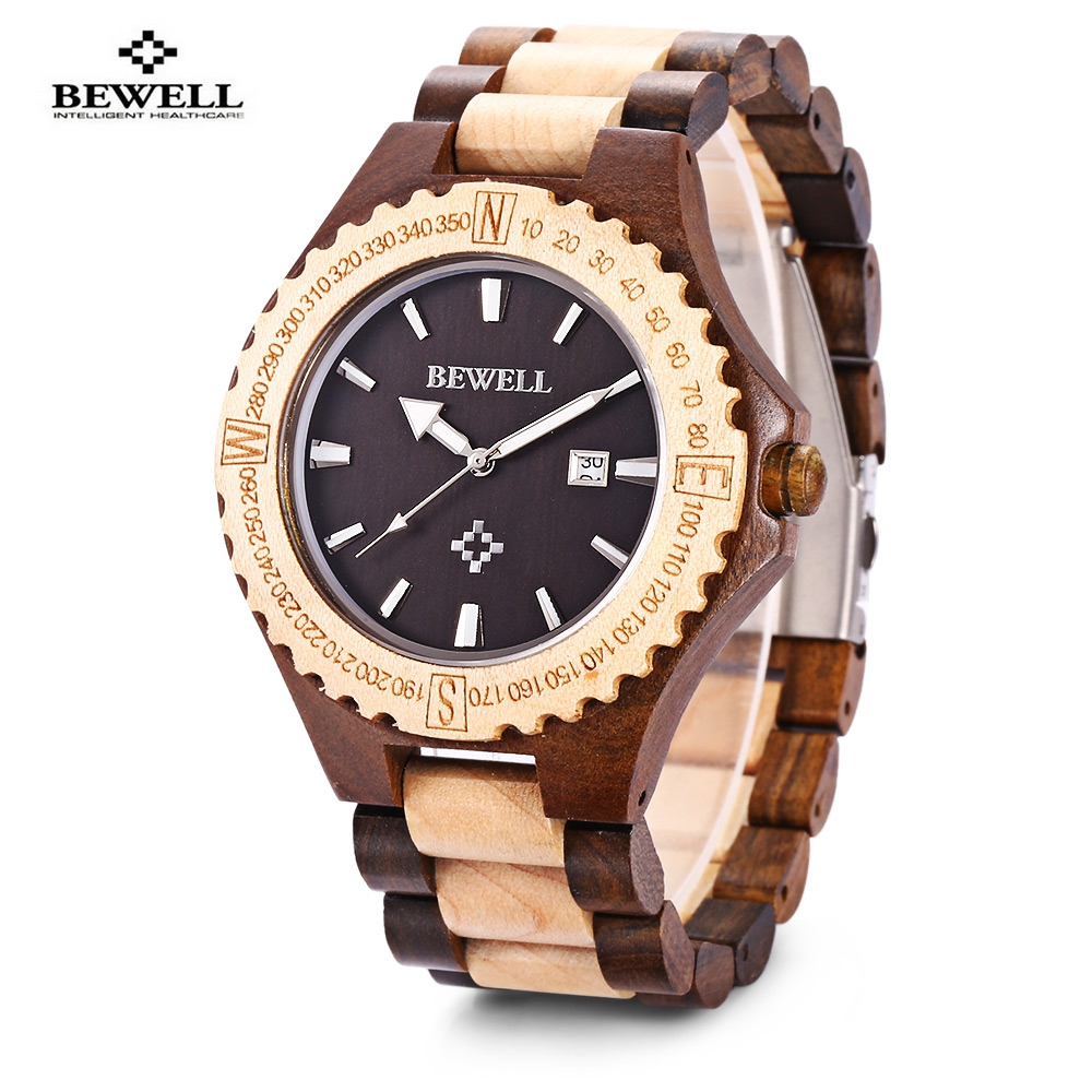 BEWELL vente chaude hommes bois montre étanche Quartz montres en bois bande calendrier de luxe homme robe montre relogio masculino