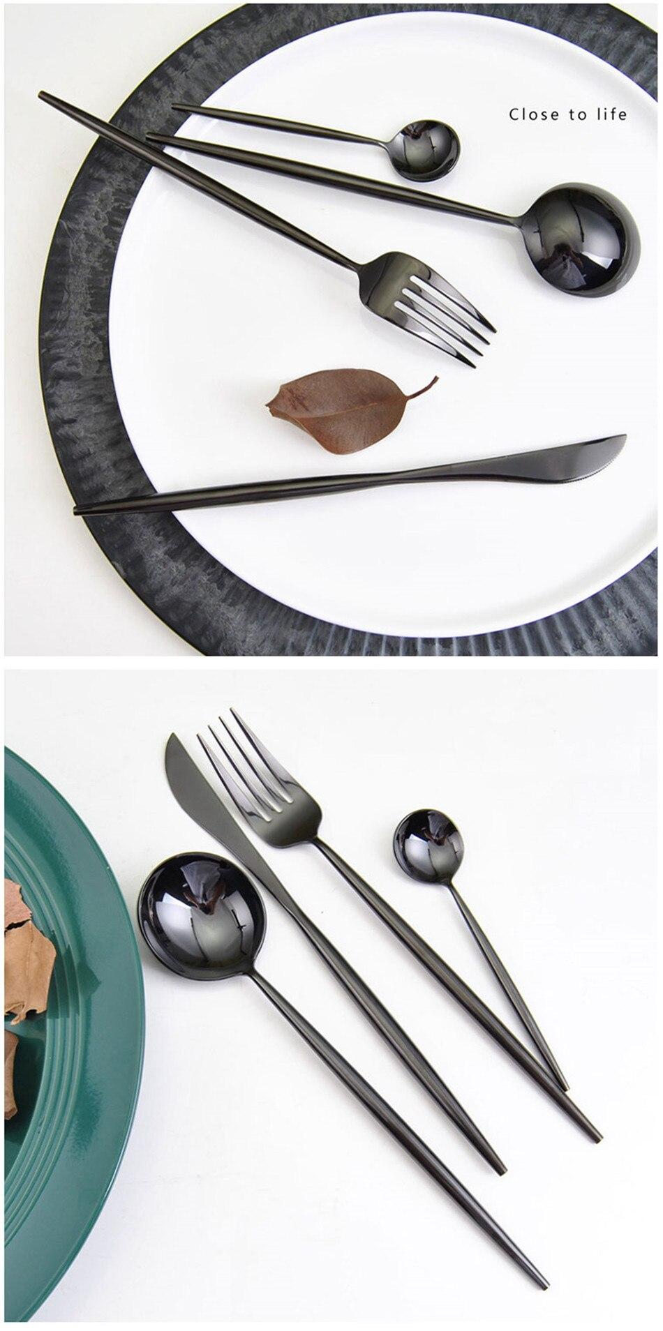 304 Stainless Steel Tableware Set Mirror Shining Rose Gold European Western Food Dinnerware Sets knife Forks Black Cutleries 4pc (6)