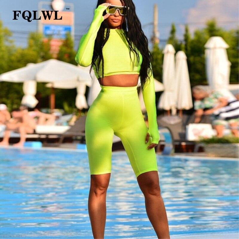 FQLWL 2 Piece Set Long Sleeve Bodycon   Jumpsuit   Women Shorts Black Fitness   Jumpsuit   Female 2018 Streetwear Playsuit Women Romper