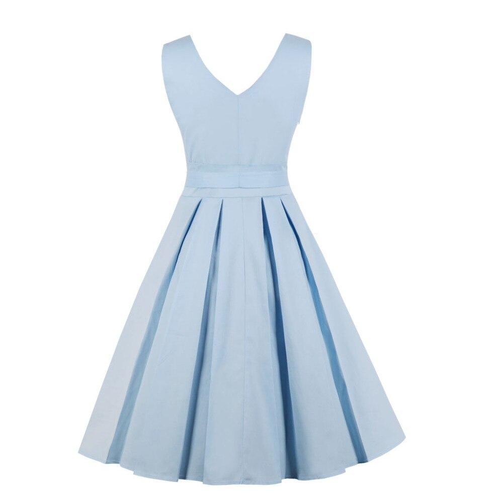c2fc5fcd25da € 9.22 38% de DESCUENTO Aliexpress.com: Comprar Azul claro rojo plisado  liso Vintage vestido de mujer 2018 Sexy cuello en V vestido de fiesta  elegante ...
