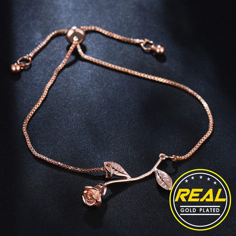Gift, fashion rose flower charm bracelet ladies girl bracelet and adjustable bracelet bracelet ladies wedding bridal jewelry