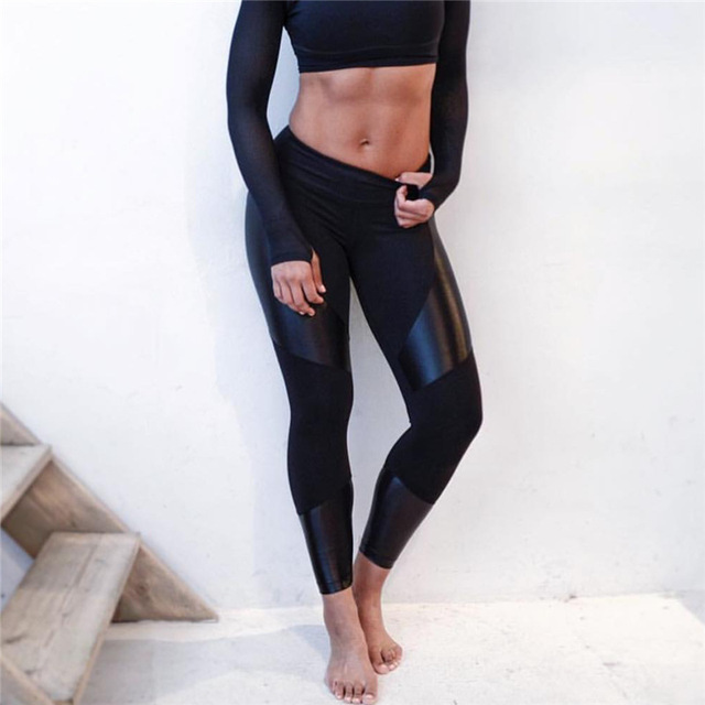 New Fashion PU Patchwork Fitness Leggings for Female Stretch Leisure Sporting Leggings Women Sexy Slim Pants Trousers