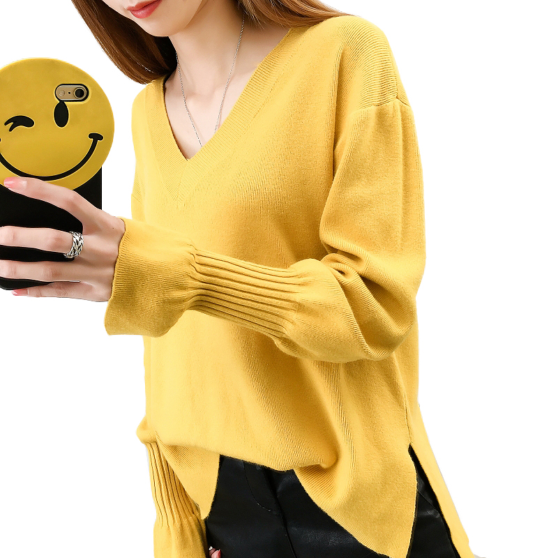 2017 Autumn Winter Sweater Women Fashion cashmere long sleeve V neck christmas sweaters pullovers knitted oversized pull femme