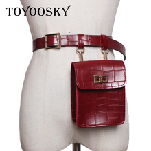 New Women Belt Crocodile Pattern PU Mini Fanny Bum Pack Detachable For Black Red Litchi Snake