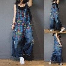 Женский джинсовый комбинезон с цветочным принтом в винтажном стиле размера плюс, повседневный высококачественный комбинезон с широкими штанинами и рваными дырками, женский джинсовый комбинезон