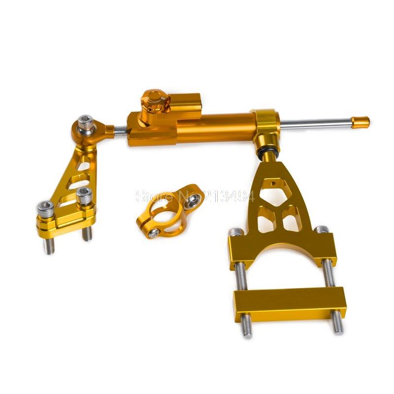 ФОТО New Arrival Adjust Steering Damper & Mount Bracket for Honda CB400SF CB400SB 1992-2015 Gold