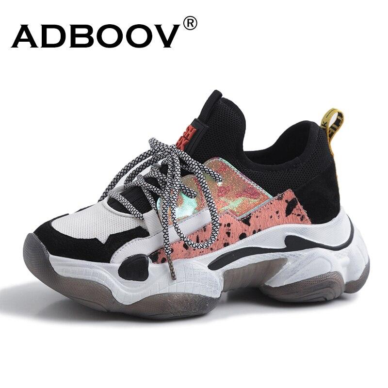 ADBOOV Horsehair Chunky Sneakers Women Plus Size 35-42 Genuine Leather Women Sneakers Summer Breathable Platform Shoes Woman sneakers