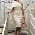 One Shoulder Tea-Length Ivory Satin Cocktail Dresses With Cape Sexy Party Dresses Formal Occasion Dresses Vestido Coctel Corto