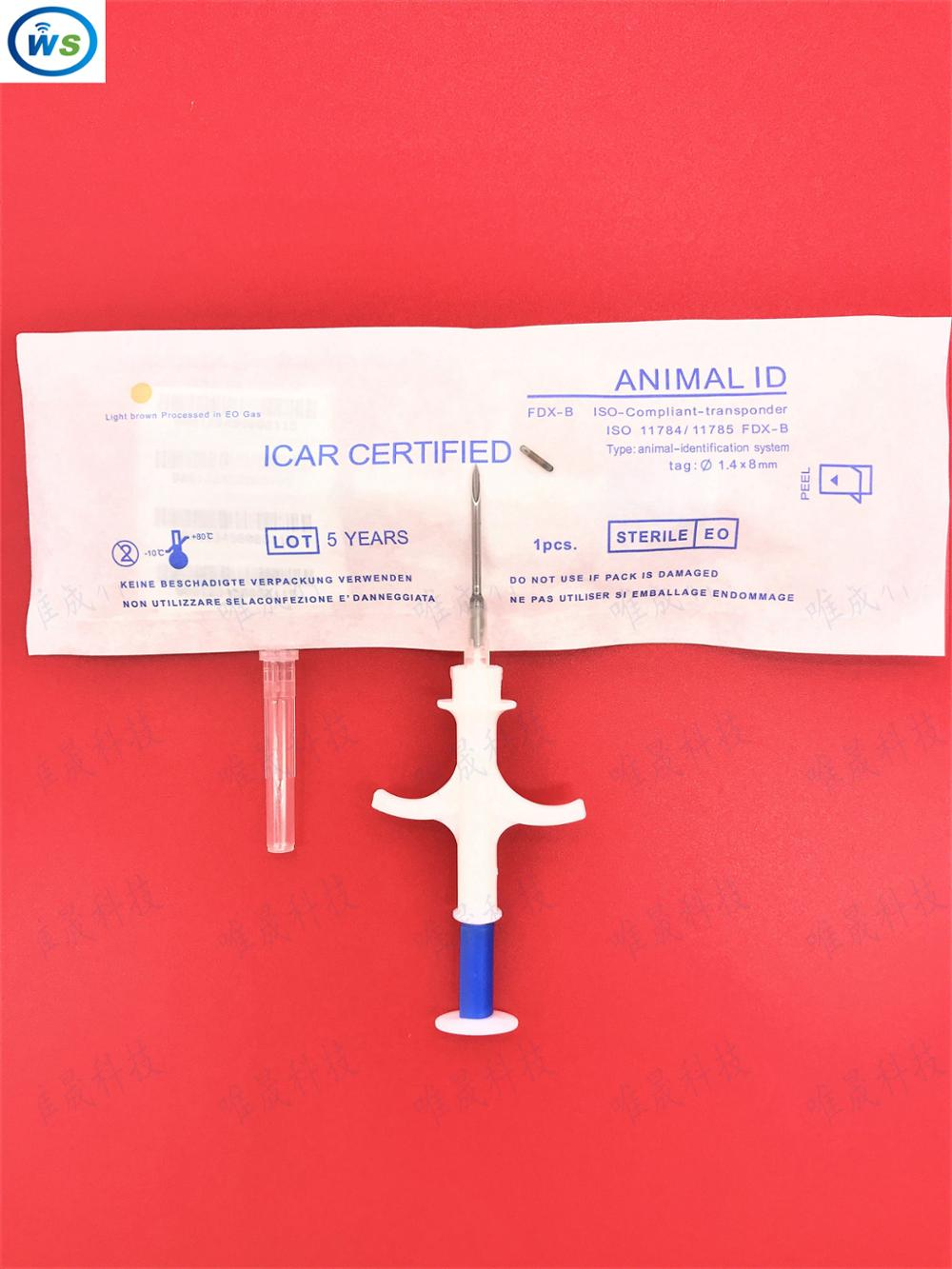 1 pcs 1.4*8 mm 134.2KHz RFID Glass Tag for Animal Identification, pet microchips EM4305 with Syringe for animal tracking