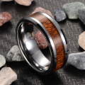 Free Shipping USA UK Canada Russia Brazil Hot Sales 8MM Silver Beveled Rose Wood New Men's Lord Fashion Tungsten Wedding Ring