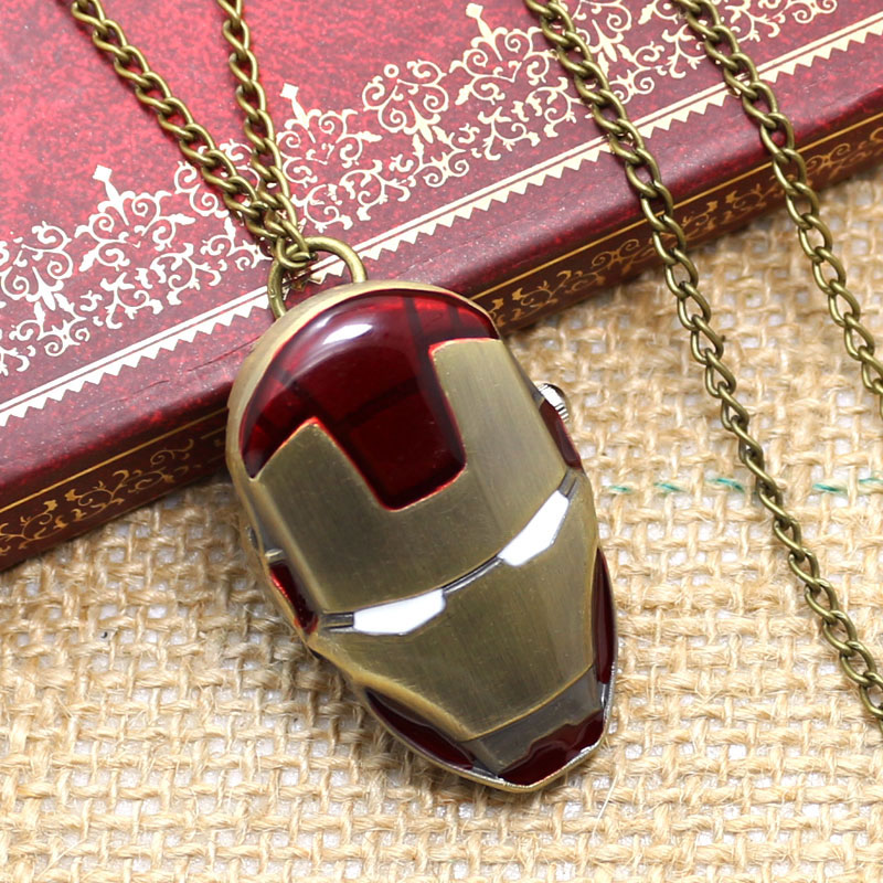 Unique Iron Man Shape Design Fob Quartz Pocket Watch With Necklace Chain Free Drop Shipping bronze quartz pocket watch old antique superman design high quality with necklace chain for gift item free shipping