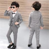2018 HOT high quality fashion formal boy costume wedding suit party baptism Christmas dress 2T 10T baby body suit 5 sets