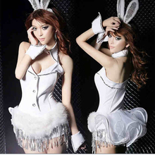 2015 Free Shipping Christmas costumes halloween women Dovetail pole dance bunny fantasias Rabbit girl eroticas uniform nightclub