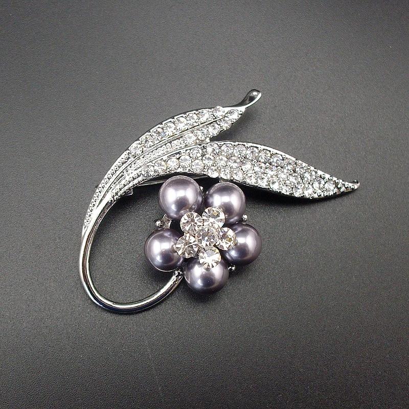 Quality Elegant Fashion Women Men Jewelry Simulated Pearl Grey Color Rhinestone Plant Flower Pin Brooch, Item NO.: BH7919