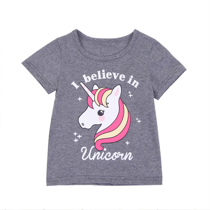 Toddled Baby Kids Girls Unicorn T-shirts Tops Short Sleeve O Neck Casual Shirts Summer New Clothes 1-6Y