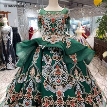Купить с кэшбэком LS98550 pretty green puffy flower girl dresses o-neck short sleeve floor length lace dresses pageant dresses for little girls