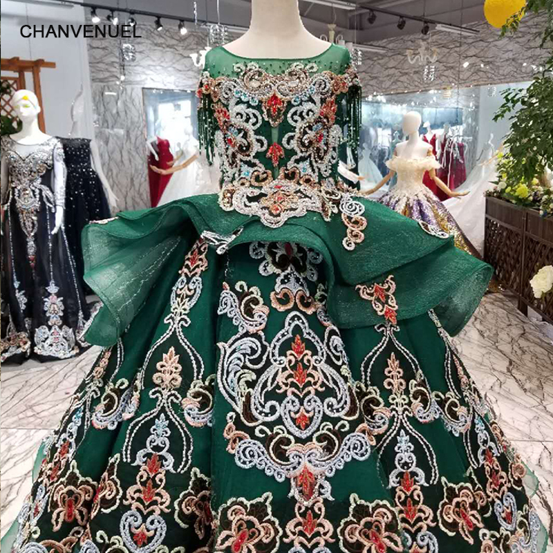 LS98550 pretty green puffy   flower     girl     dresses   o-neck short sleeve floor length lace   dresses   pageant   dresses   for little   girls