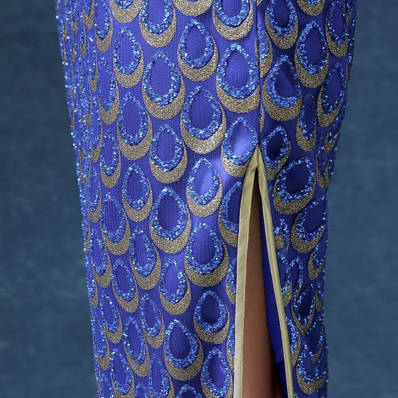 wanita biru panjang penuh anggun cheongsam elegan shanghai gaun - Pakaian kebangsaan - Foto 5