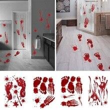 Zombie Handprint Footprint Fingerprint Wall Sticker Halloween Decor Horror Scary Blood Masquerade Party Supplies