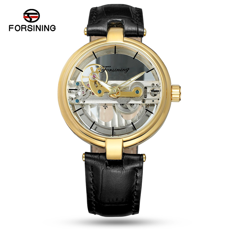 Forsining 2019 Women Watches Luxury Simple Design  Transparent Case Leather Top Brand Strap  Automatic Skeleton Wrist WatchesForsining 2019 Women Watches Luxury Simple Design  Transparent Case Leather Top Brand Strap  Automatic Skeleton Wrist Watches