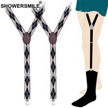 hot deal buy showersmlie beige shirt suspenders men jacquard elastic shirt stays y shape galluses argyle sock suspenders male 2.5cm garters