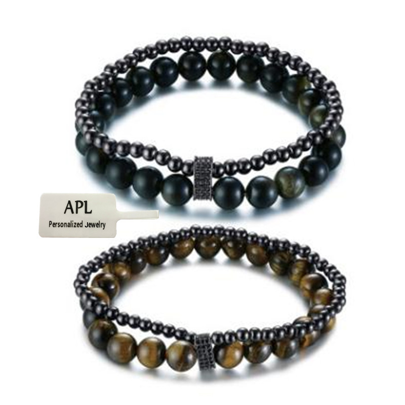 APL Hip-hop Style Retro Men's Fashion Double Pearl Black Gallstone Bracelet Popular Men's Bracelet