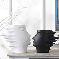 Modern Abstract Ceramics Human Figure Sculpture Flower Vase Decorative Porcelain Face Plant Pot Novelty Art and Craft Ornament