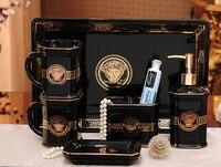 Керамика матовая Аксессуары для ванной комнаты комплект черный цвет элегантный Мыло блюдо диспенсер шампунь бутылки Зубная щётка держател