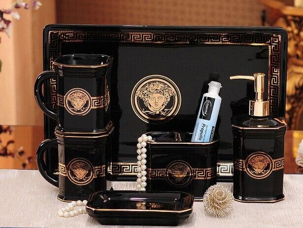 Keramik Matte Bad Accessoires Set Schwarz Farbe Elegante