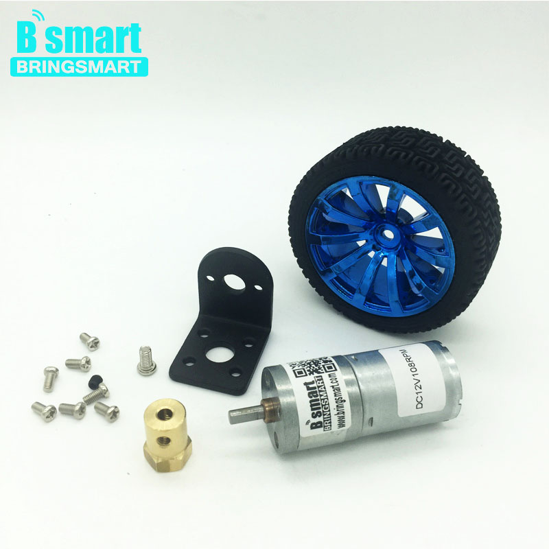 Bringsmart JGA25-370TC DC Gear Motor 6V Mini Motor 12V with Mounting Bracket Coupling and Screw Combination for Toy Car Kits wholesale bringsmart 37mm diameter gear motor mounting bracket with screw shaft coupling for diy car use fixed motor bracket