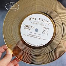 HI4076 уникальная CD форма пригласительная карта для клубных вечерние из акриловое зеркало золотистого цвета