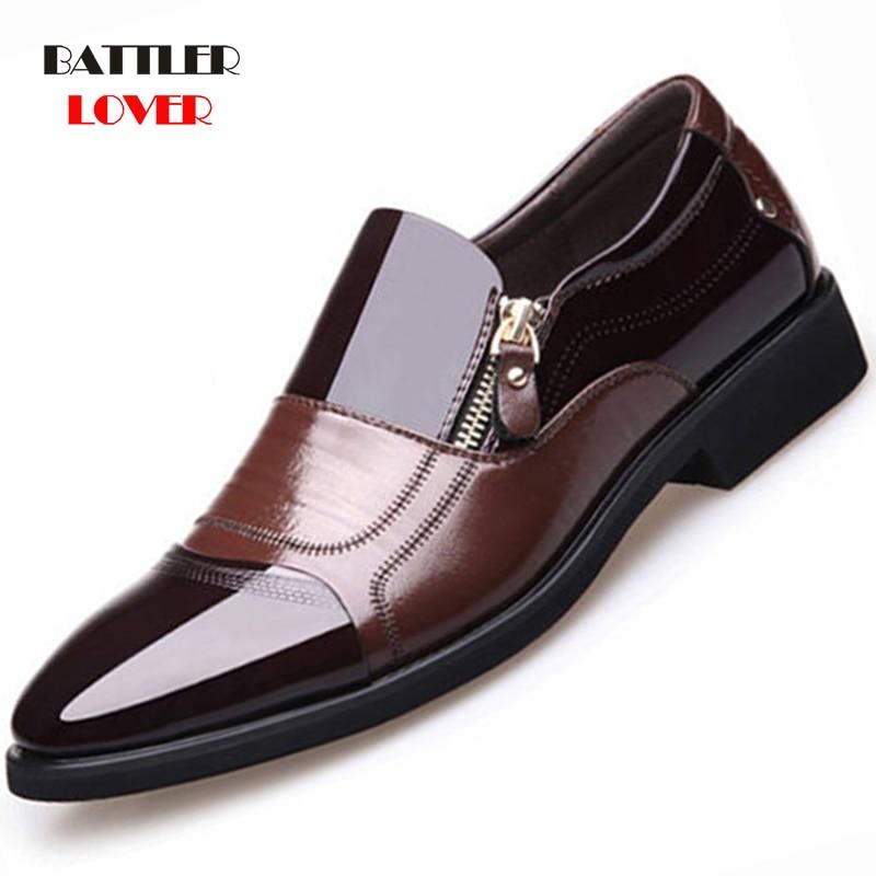 2019 Formal Shoes Men Pointed Toe Men Dress Shoes Patent Leather Men