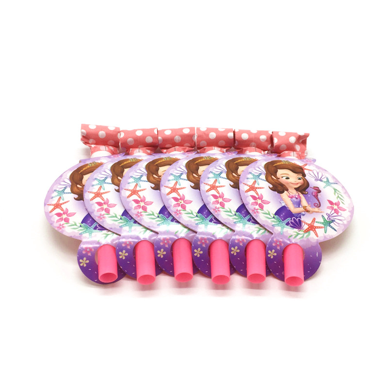 Sofia The First Theme 6Pcs/Lot Blowout Girl Birthday Party Cartoon Funny Whistles Family Party Wedding Blowing Dragon Supply