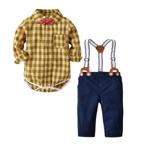 QAZIQILAND Newborns clothes new yellow plaid rompers shirts+jeans baby boys bebes clothing set