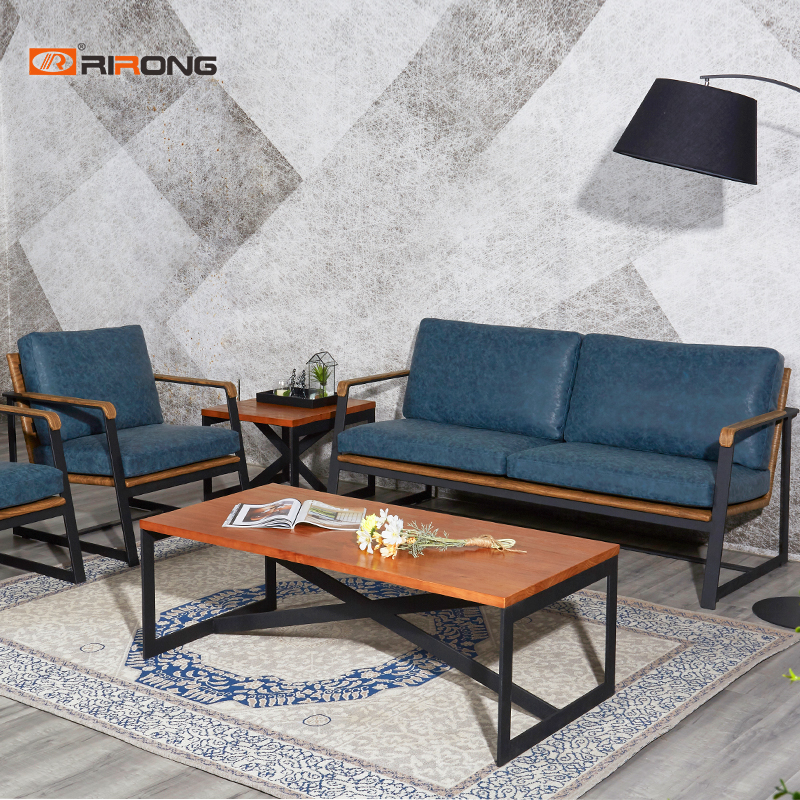 High Density Fashion Blue Antique Office Sofa Wood Coffee Table Set