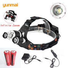 8000Lm NEW XML T6+2Q5 LED Head Flashlight Headlight Headlamp Head Lamp Light Torch +2x18650 Battery+EU/US/UK/AU Charger(China)