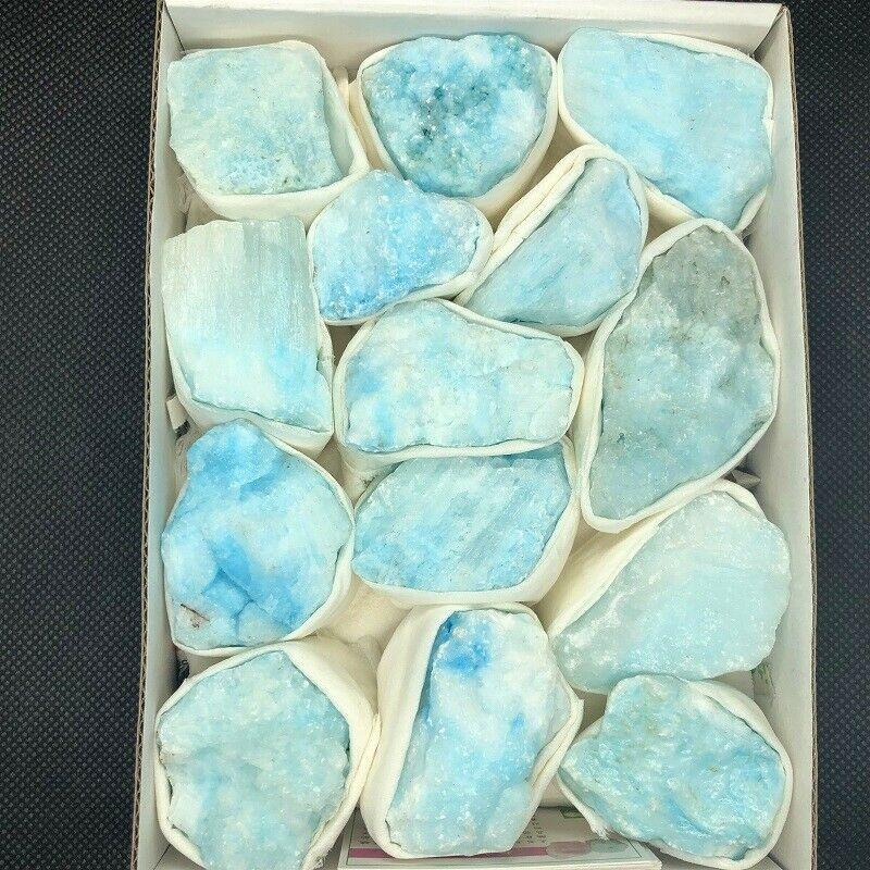 Wholesale 1PC Quartz Crystal Blue Vein Aragonite Mineral Reiki Decoration Specimen Random  Healing Stones