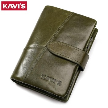 KAVIS Women Wallet Female Genuine Leather Coin Purse and Small Walet Portomonee Lady Money Green Zipper Perse Card Holder Perse