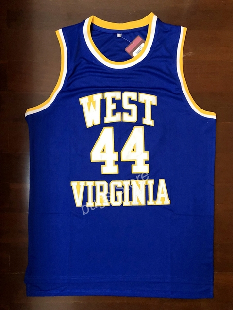 d8f7de6809b EJ Jerry West  44 West Virginia Mountaineers Vintage Embroidery Stitched  College Basketball Jersey