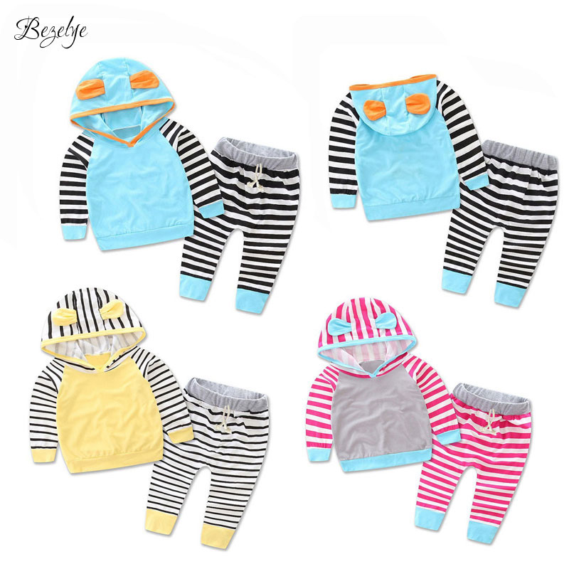 2 PCS Babies Clothes for Baby Girl Set Striped Hooded  Baby Boyes Clothes Set Spring Autumn Baby Boy Clothing 2017 T Shirt+Pants 2pcs set cotton spring autumn baby boy girl clothing sets newborn clothes set for babies boy clothes suit shirt pants infant set